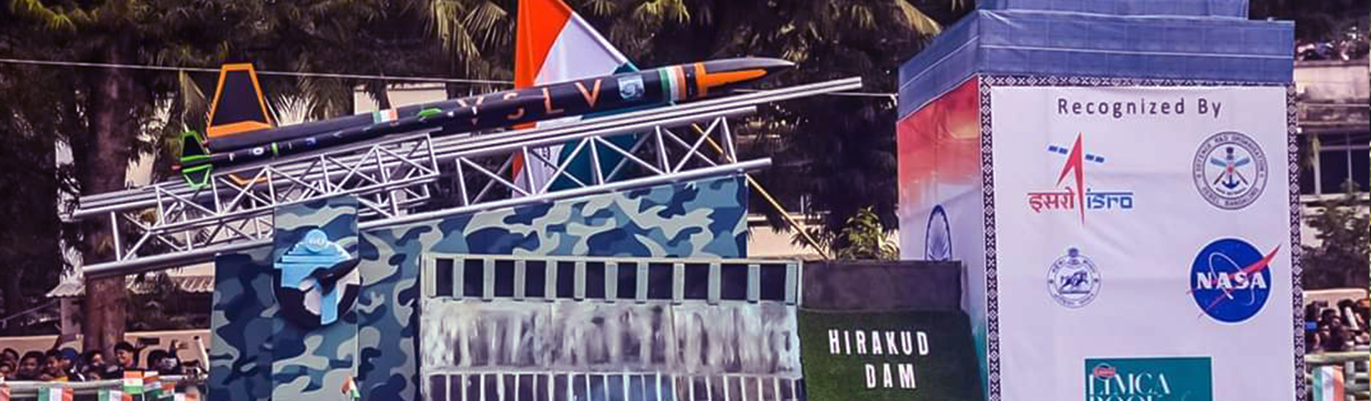 A Tableau  with a Rocket on display at the Republic Day Parade in Bhubaneswar on Saturday