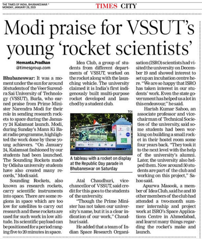 Modi Praise for VSSUT's Young Rocket Scientists
